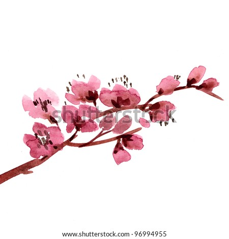 handmade cherry bluming Branch - stock photo