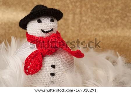 Handmade Christmas Crochet Fat Snowman - stock photo
