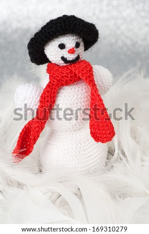Handmade Christmas Crochet Slim Snowman - stock photo