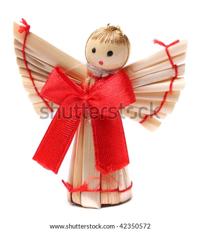 Handmade christmas decoration angel from straw, traditional Czech souvenir, isolated on white - stock photo