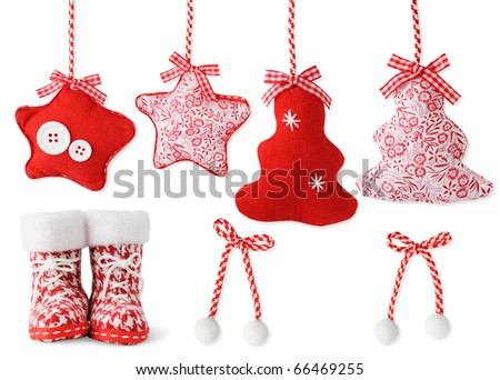 Handmade Christmas decoration isolated on white - stock photo