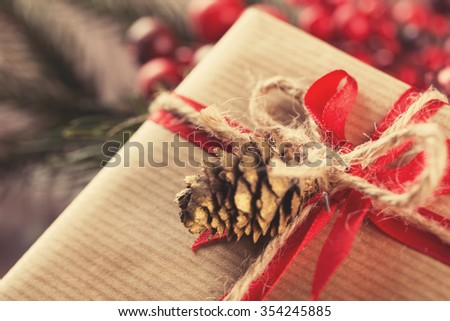 Handmade christmas gift box close-up, macro
