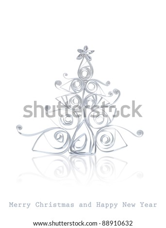 Handmade Christmas tree cut out from office paper. Isolated on white background.  Quilling art. - stock photo
