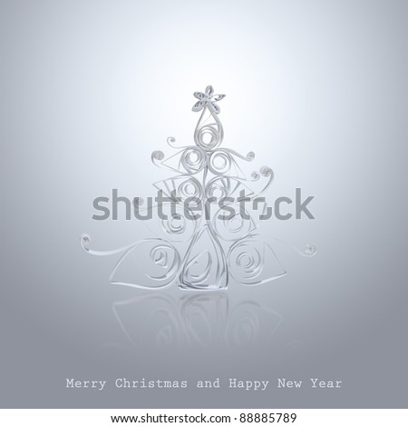 Handmade Christmas tree cut out from office paper. Quilling art. - stock photo