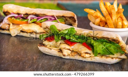 Handmade Ciabatta Sandwich with chicken, cheese and avocado