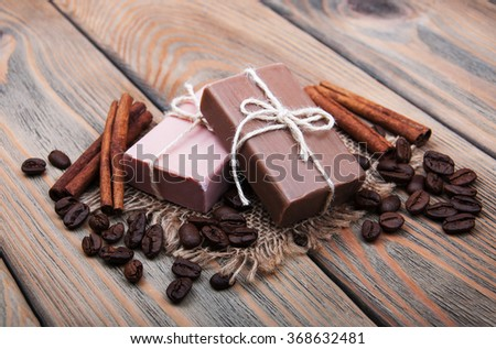 handmade coffee scented soap on wooden background - stock photo