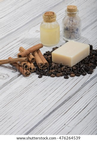 handmade coffee scented soap on wooden background