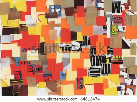 Handmade collage made of magazines and color paper clippings. Made myself. - stock photo