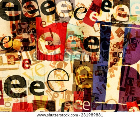 Handmade collage of newspaper and magazine clippings on stained paper background - stock photo