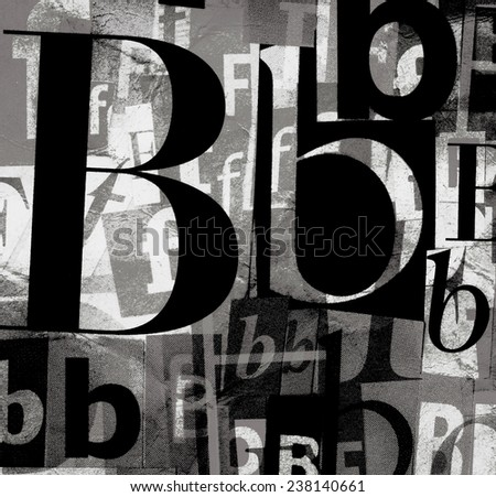 Handmade collage of newspaper and magazine clippings with mixed letters B and F in black and white  - stock photo