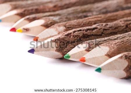 Handmade color pencil drawing of a wooden logs macro isolated on white background. horizontal