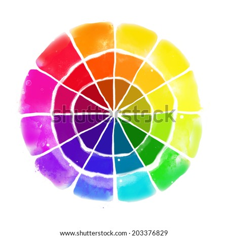 Handmade color wheel. Isolated watercolor spectrum. Raster illustration.  - stock photo