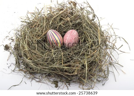 Handmade colored Easter eggs in the nest
