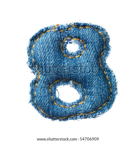 Handmade digit of jeans alphabet