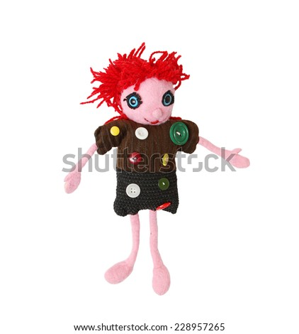 handmade doll on white background - stock photo