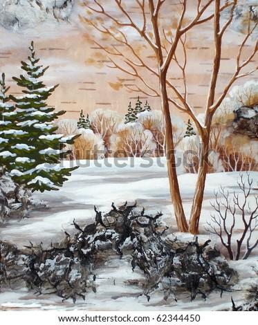 Handmade, drawing distemper on a birch bark: winter siberian landscape - stock photo