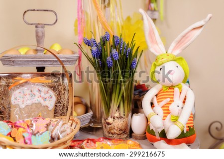 handmade Easter bunny colorful plush toy and decor - stock photo