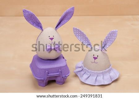 Handmade Easter Bunny Soft Toys. - stock photo