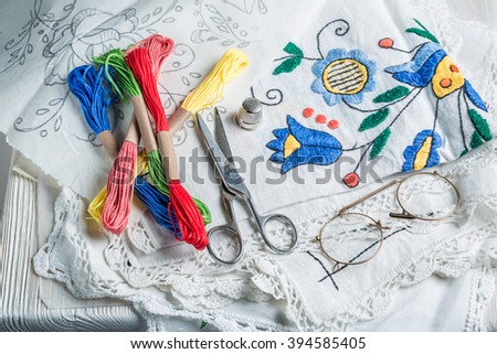 Handmade embroidered napkins with color mulina - stock photo