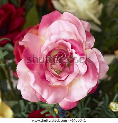 handmade fake pink rose flower - stock photo