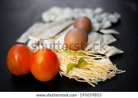 Handmade fresh pasta and ingredients - stock photo