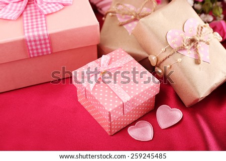 Handmade gift on Valentine Day, close-up - stock photo
