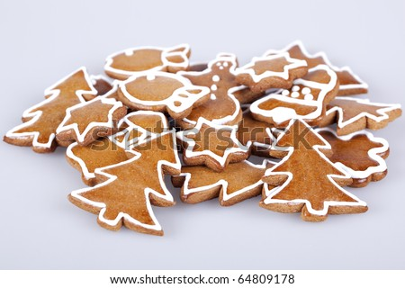 handmade gingerbread cookies, diferent pieces - stock photo