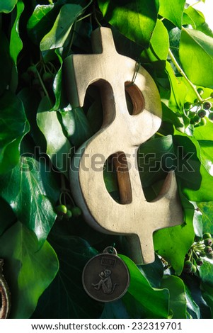 handmade golden dollar symbol hanging  on design green New Year tree isolated on white background - stock photo