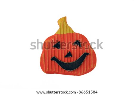 Handmade Halloween Wood Pumpkin isolated on white background - stock photo