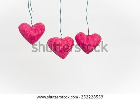 handmade hearts - stock photo