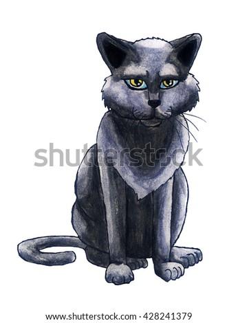 Handmade illustration of a cat - stock photo