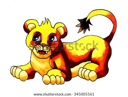 Handmade illustration of a lion cub
