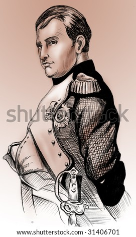 Handmade illustration: portrait of French Emperor, Napoleon - stock photo