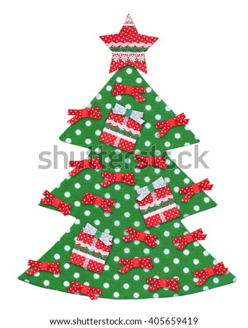 Handmade isolated Christmas tree decorated with star, ribbons and gifts. - stock photo