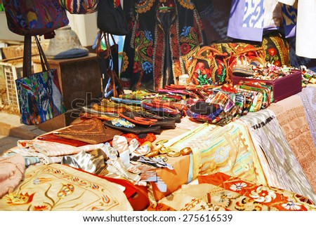 Handmade items in the open-air flea market - stock photo