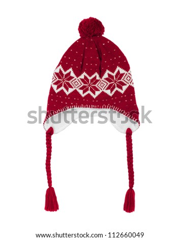 Handmade  knitted wool hat isolated on white background - stock photo