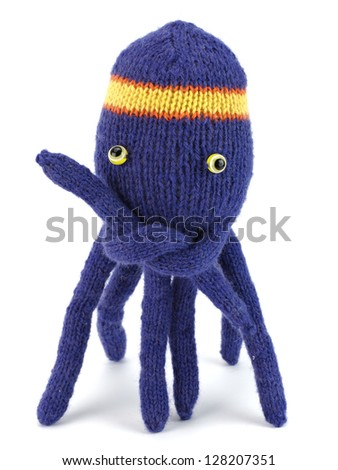 handmade knitting wool doll - octopus on a white background