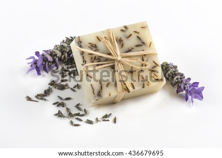 Handmade lavender Soap. Delicious flower scent thanks to the natural Lavender essential oil used - stock photo