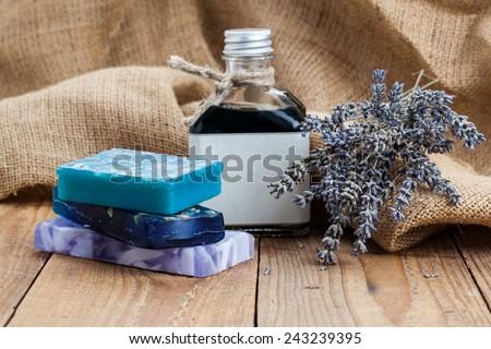 handmade lavender soap,  on wooden background - stock photo