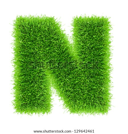 Handmade letter of grass alphabet.