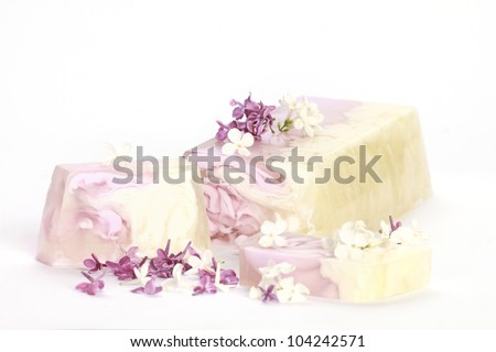 Handmade lilac Soap closeup.Spa products - stock photo
