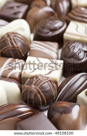Handmade luxury chocolate close-up selective focus - stock photo