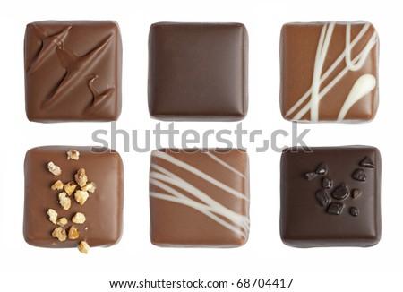 Handmade luxury chocolate isolated on white background - stock photo