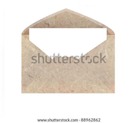 handmade mulberry paper  envelope isolated on white background