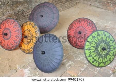 Handmade multi-colored umbrella ,Bagan, Myanmar. - stock photo