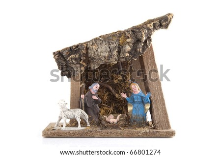 Handmade nativity on a white background - stock photo