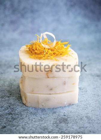 Handmade natural bars of soap - stock photo