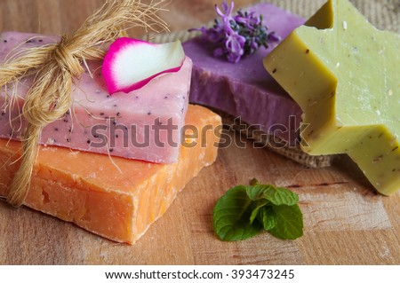 Handmade natural soap. Spa products - stock photo