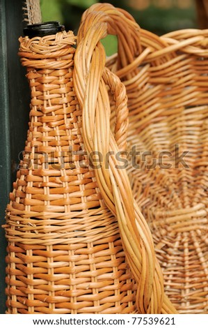 Handmade objects of natural willow - stock photo