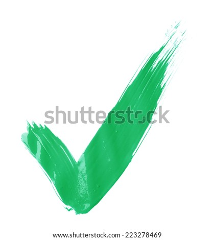 Handmade oil paint brush stroke yes tick mark, isolated over the white background